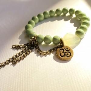 Green & Bronze Om Bracelet