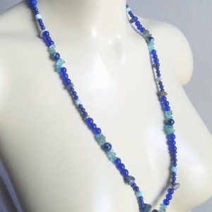 Handmade Moonstone Tigers Eye Goldstone Lapis Sapphire Kyonite Pearl Necklace