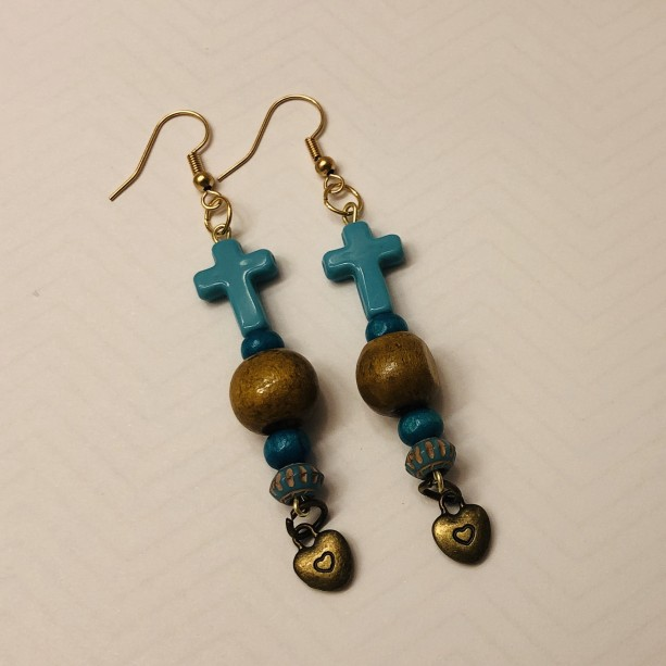 Brown and Turquoise Cross Earrings