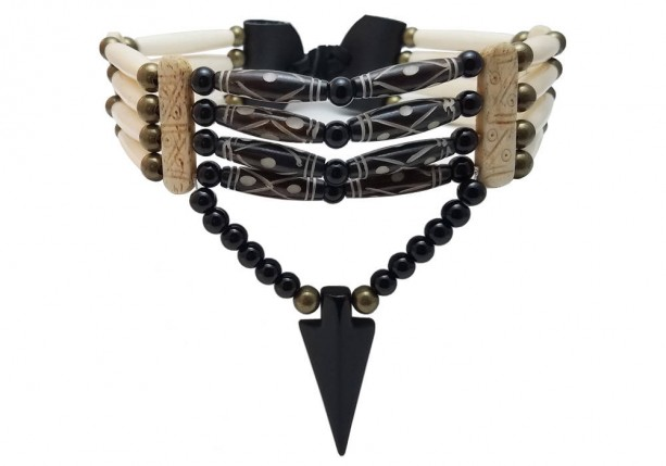 Handmade Traditional 4 Row Buffalo Bone Hairpipe Tribal Choker Necklace with Arrowhead Pendant