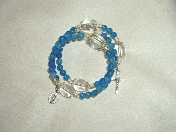 Rosary Bracelet of Blue and Clear Glass Beads, SP Medals