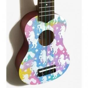 Soprano Galaxy Unicorn Ukulele, Hand Painted Ukulele, Decorated Ukulele, Galaxy Paint, ukulele instrument, concert, tenor, baritone, guitar