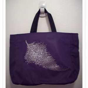 Personalized Rhinestone Feather Tote Bag with Pocket