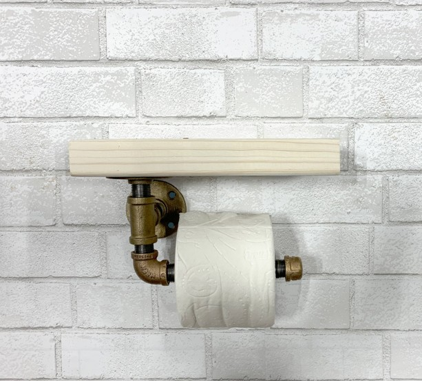 Brass Industrial Toilet Paper Holder with Rustic top shelf.