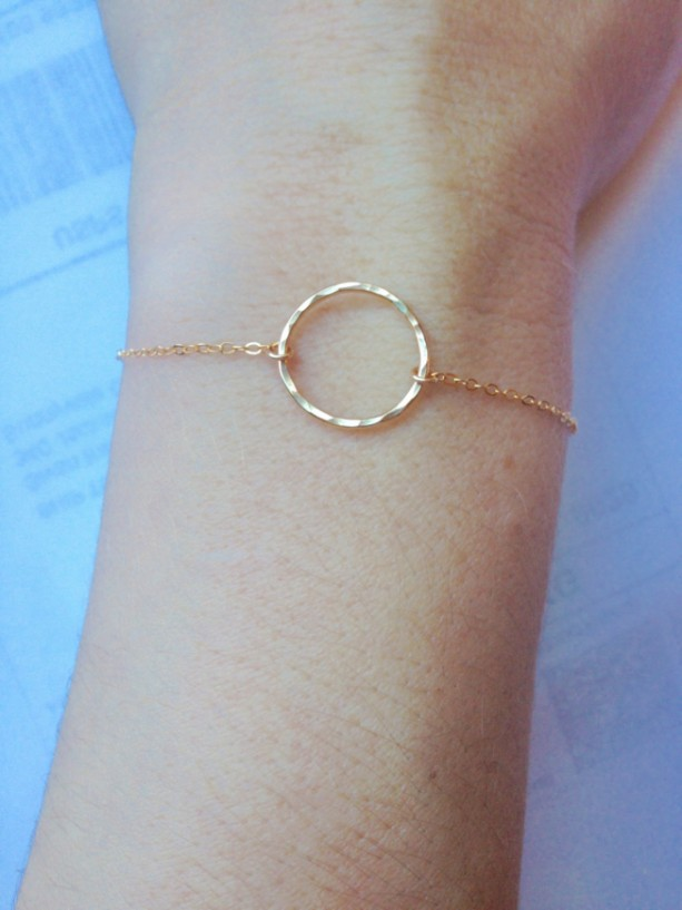 Gold Circle Bracelet Hammered 14k Karma