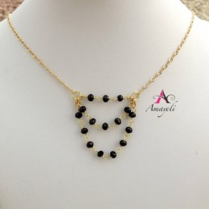 Gold black layered look necklace wire wrapped handmade beaded bib