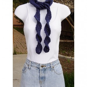 Solid Dark Denim Blue Skinny SUMMER SCARF Small Soft 100% Acrylic Spiral Knit Narrow Twisted Women's Long Neck Tie, Ready to Ship in 2 Days