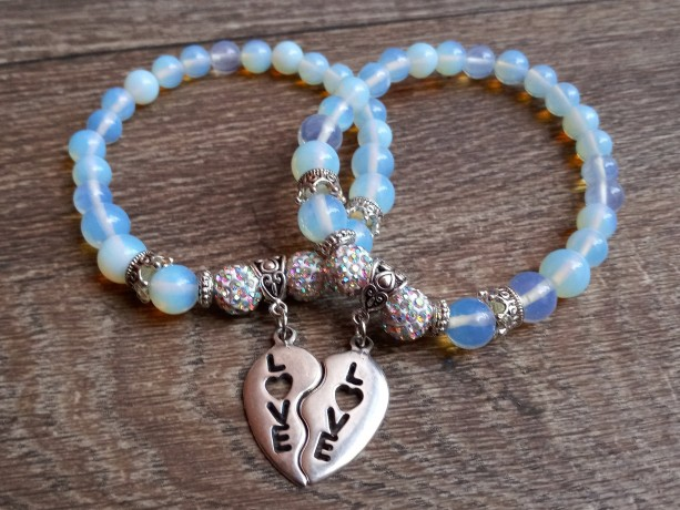 Moonstone Bracelet Set With Matching Heart Love Charm and Crown