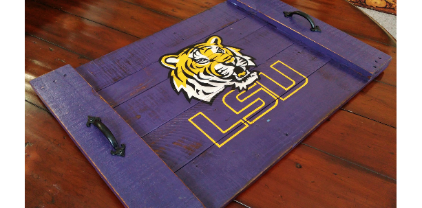Handmade Hand Painted LSU Louisiana State University Tigers Reclaimed Wooden Serving Tray