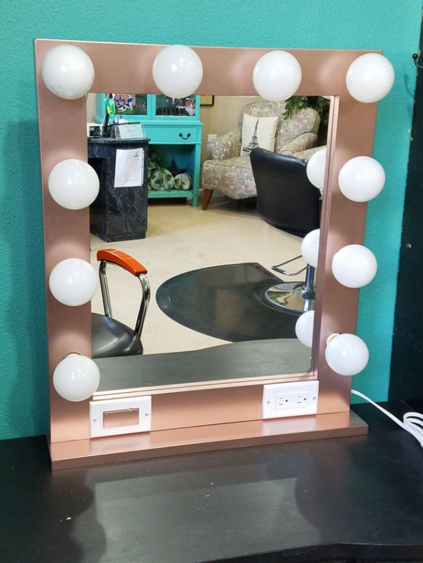 ROSE GOLD 24 x 28 Lighted Hollywood style Glamour vanity mirror