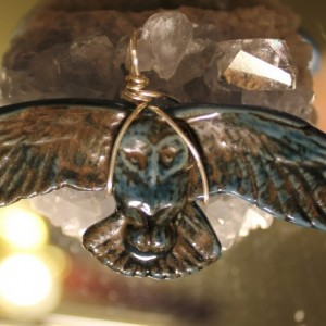 Silver Plate Wire Wrapped Owl Necklace