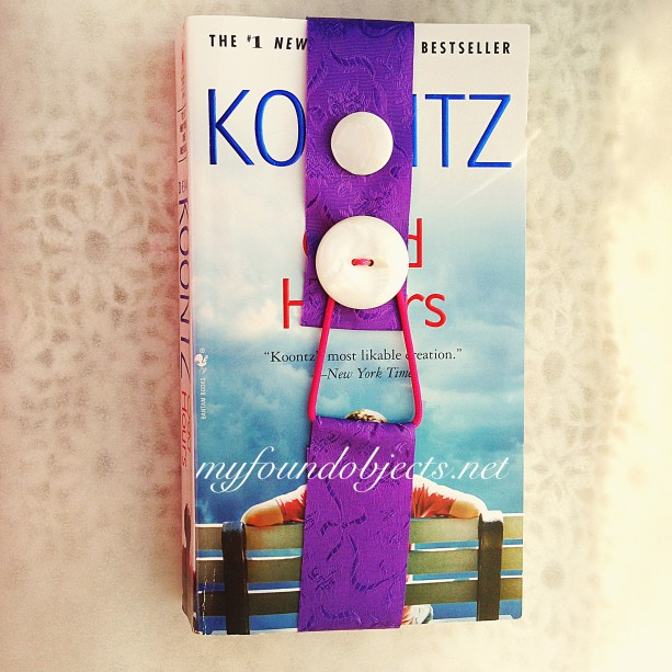 Bookmark, Purple Floral Ribbon & White Vintage Buttons