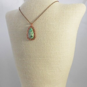 Handcrafted Abstract Variscite and Copper Metal Clay Pendant