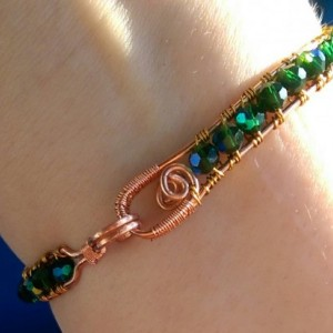 Emerald crystal bangle