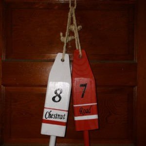 Custom MADE wooden Address Lobster Buoys (Set of 2). Hand Painted and the Original!