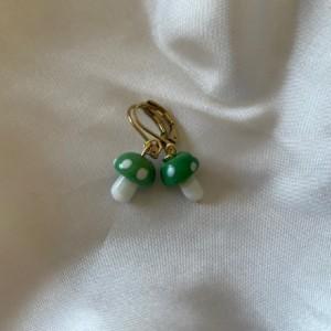 Mini Glass Mushroom Earrings (gold)