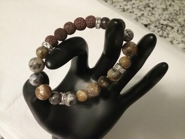 Black Moss Opal Gemstone w/Lava Stone Diffuser Bracelet