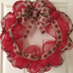 Red Snowflake Ribbon Wreath