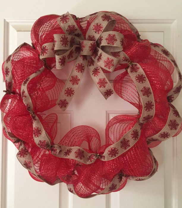 Red Snowflake Ribbon Wreath