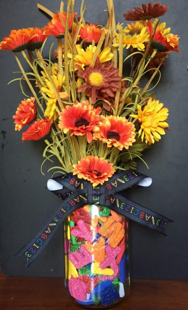 Alphabet Mason Jar Vase (Teacher Gift)