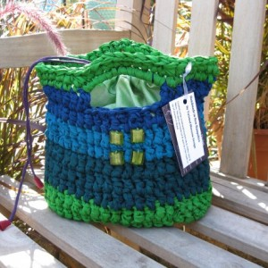 Aqua & Chartreuse Reclaimed/Recycled Chiffon Purse