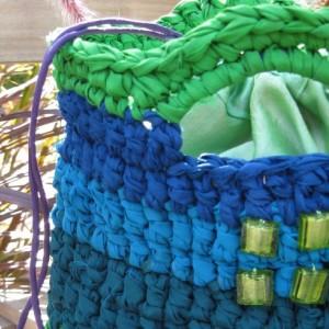 Aqua & Chartreuse Reclaimed/Recycled Chiffon Purse
