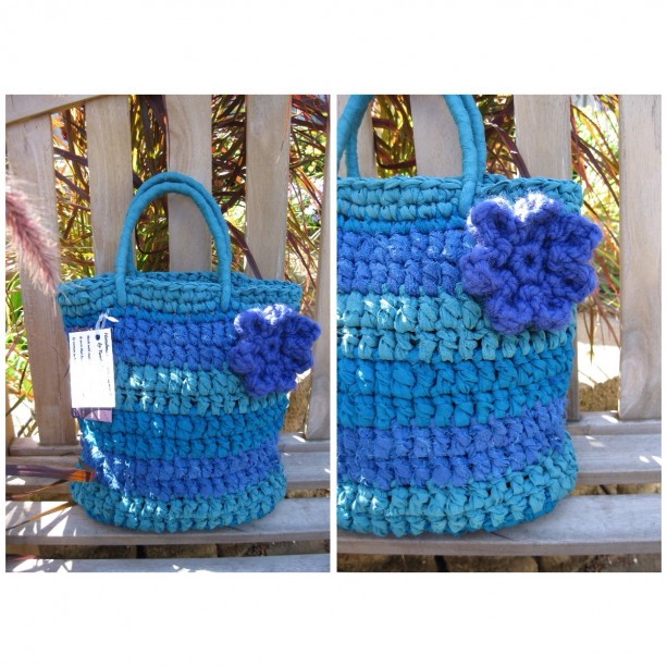 Blue Reclaimed/Recycled Chiffon Purse
