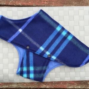 Fleece Dog Jacket Blue Plaid