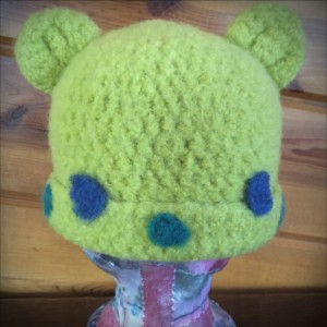 lime green (with dots) handmade crocheted felted hat (9917)