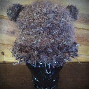 brown heathered crocheted hat with mane (9906)