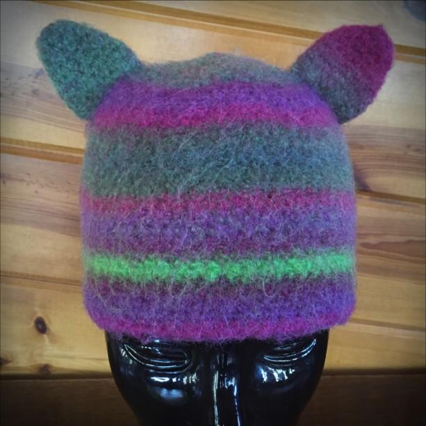 plum forest handmade crocheted felted wool hat (9915)