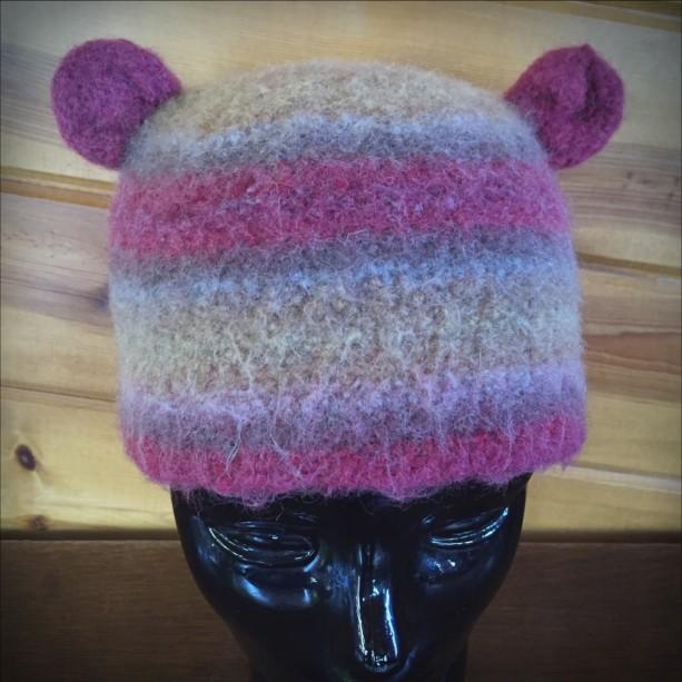 redorangeyellow handmade crocheted felted wool hat (9923)
