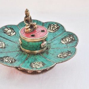 Tibetan Copper Lotus Shape Incense Burner & Candle Holder with 8 Auspicious Symbols, Tibetan Incense Holder