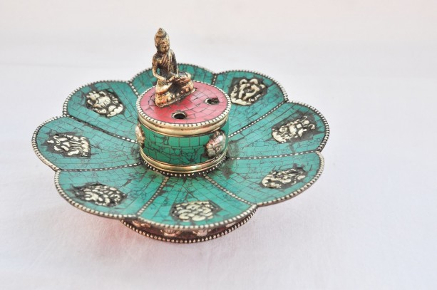 Tibetan Copper Lotus Shape Incense Burner & Candle Holder with 8 Auspicious Symbols, Tibetan Incense Holder