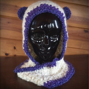 creamy purple handmade crocheted scoodie (9972)