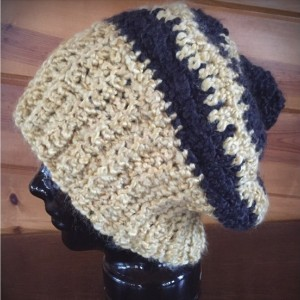 yellow & black slouchy hat (7747)