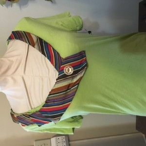 Lime Green Short-Sleeved Tie Tee Size Large.