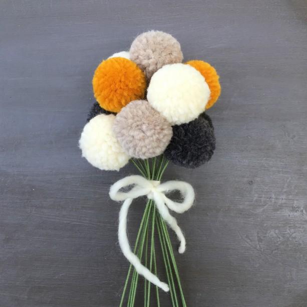 ... Pom Pom Flowers, Grey Cream Marigold and Oatmeal PomPom Flower Bouquet