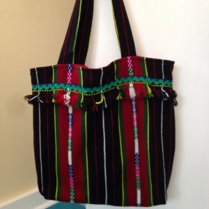 Woven shopping tote bag