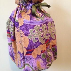 Vintage fabric BOHO gypsy drawstring pouch