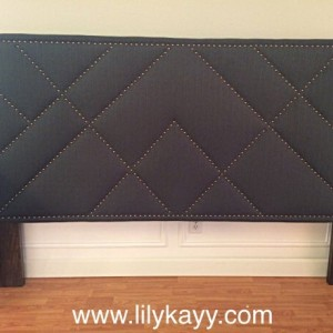 upholstered pattern nail head trim headboard