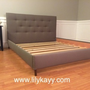 Mid century modern  headboard and bed frame Gray Linen upholstered