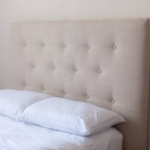 Tan Begie Button Tufted Headboard