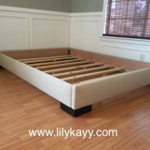 Platform bed frame Linen upholstered