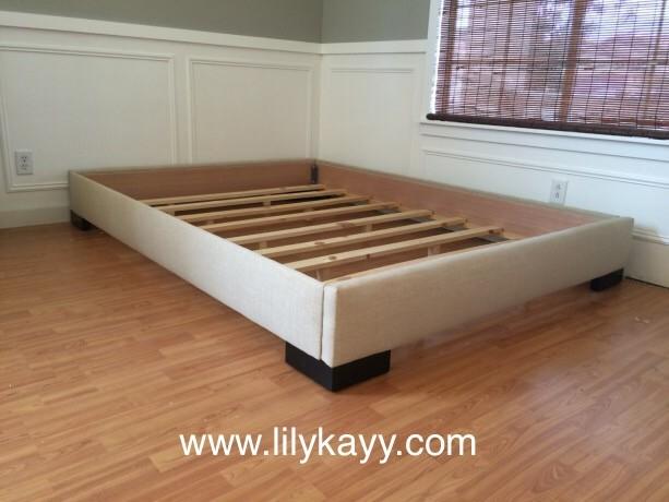 platform bed frame linen upholstered aftcra. Black Bedroom Furniture Sets. Home Design Ideas
