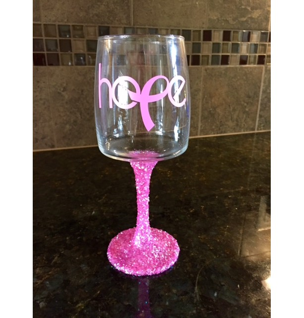Hope Breast Cancer Glitter Wine Glass