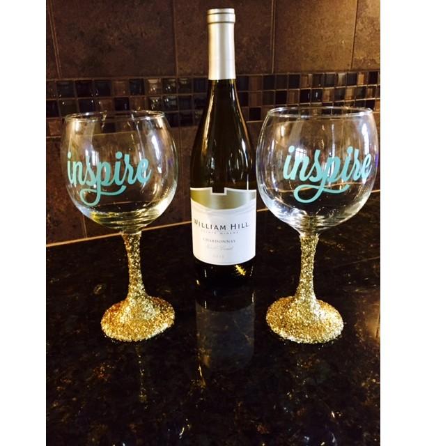 INSPIRE Red Wine Glasses Gold Glitter Stems set of 2