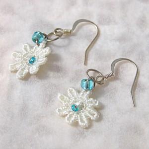 Sweet Summer Lace Dangle Earrings (Aqua Blue)
