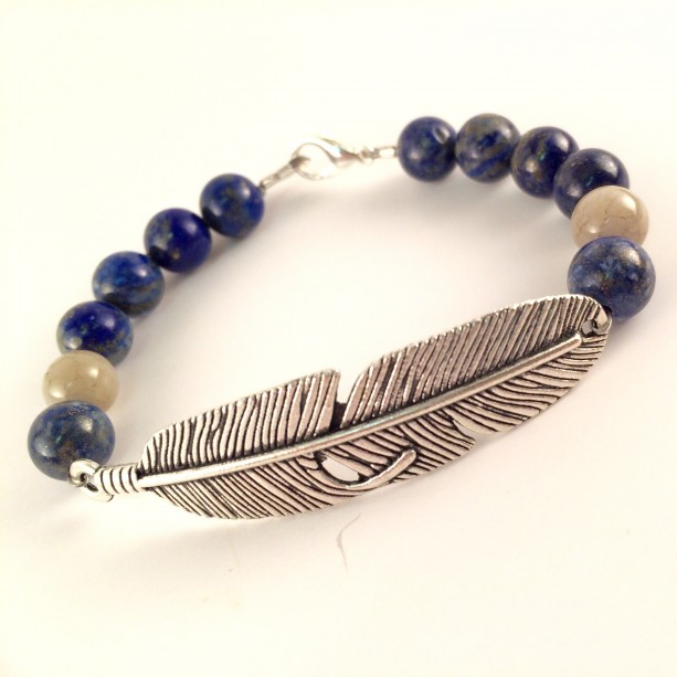 Blue lapis & silver feather bracelet