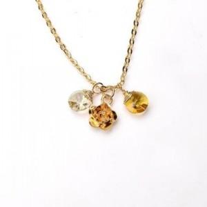 Yellow Gemstone Pendant Necklace. Tiny Gold Flower Pendant Necklace. Double Crystal Necklace. Devotion Necklace 2